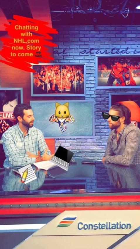 Interviewing Florida Panthers defenseman Aaron Ekblad