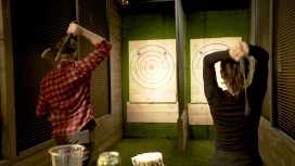 Throwing axes at Kick Axe Throwing in NYC