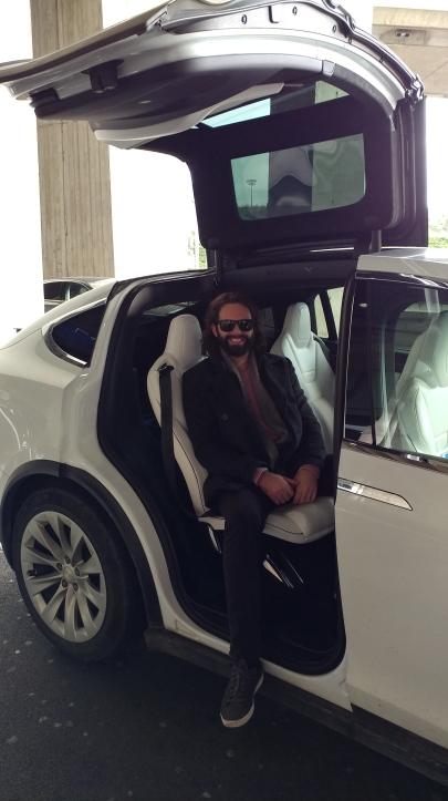 Riding in a Tesla in Paris