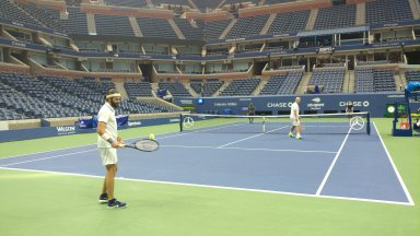Had a tennis clinic at Arthur Ashe Stadium