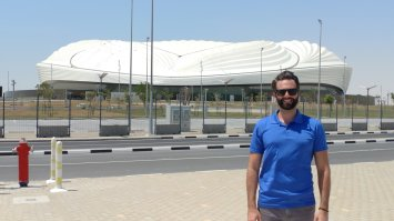Outside Al Wakrah Stadium in Doha, Qatar